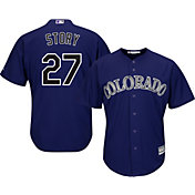 Majestic Youth Replica Colorado Rockies Trevor Story #27 Cool Base Alternate Purple Jersey