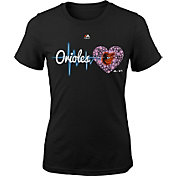 Majestic Youth Girls' Baltimore Orioles Heart Beat Black T-Shirt