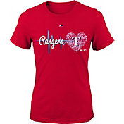 Majestic Youth Girls' Texas Rangers Heart Beat Red T-Shirt