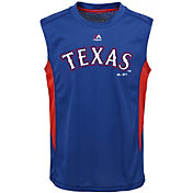 Majestic Youth Texas Rangers Cool Base Foul Line Royal Performance Sleeveless Shirt