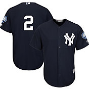 Majestic Youth Replica New York Yankees Derek Jeter #2 Cool Base Alternate Navy Jersey w/ Jersey Retirement Patch