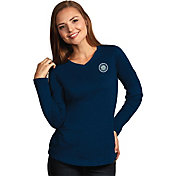 Antigua Women's Seattle Mariners Flip Navy Long Sleeve V-Neck Shirt
