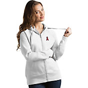 Antigua Women's Los Angeles Angels White Victory Full-Zip Hoodie
