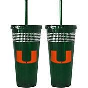 Boelter Miami Hurricanes Bling 22oz Straw Tumbler 2-Pack