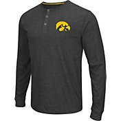 Colosseum Athletics Men's Iowa Hawkeyes Charcoal Long Sleeve Henley T-Shirt