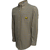 Campus Specialties Men's Iowa Hawkeyes Black Multi-Checkered Woven Long Sleeve Shirt