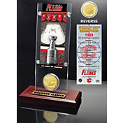 Highland Mint Calgary Flames 1989 Stanley Cup Champions Ticket and Bronze Coin Acrylic Display