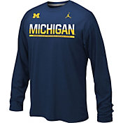 Jordan Youth Michigan Wolverines Blue Staff Sideline Legend Long Sleeve Shirt