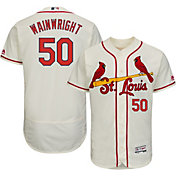 Majestic Men's Authentic St. Louis Cardinals Adam Wainwright #50 Alternate Ivory Flex Base On-Field Jersey