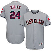 Majestic Men's Authentic Cleveland Indians Andrew Miller #24 Road Grey Flex Base On-Field Jersey