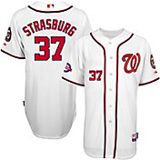 Majestic Men's Authentic Washington Nationals Stephen Strasburg #37 Cool Base Home White Jersey w/ 10th Ann. Patch