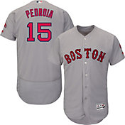 Majestic Men's Authentic Boston Red Sox Dustin Pedroia #15 Road Grey Flex Base On-Field Jersey