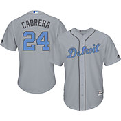 Majestic Men's Replica Detroit Tigers Miguel Cabrera #24 2016 Father's Day Cool Base Road Grey Jersey