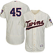 Majestic Men's Authentic Minnesota Twins Phil Hughes #45 Alternate Ivory Flex Base On-Field Jersey