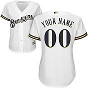 Majestic Women's Custom Cool Base Replica Milwaukee Brewers Home White Jersey
