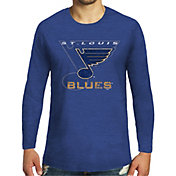 Majestic Threads Men's St. Louis Blues Tri-Blend Royal Long Sleeve T-Shirt
