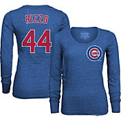 Majestic Threads Women's Chicago Cubs Anthony Rizzo #44 Royal T- Shirt