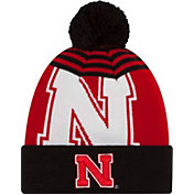 New Era Men's Nebraska Cornhuskers Black/Scarlet Logo Whiz 2 Knit Beanie