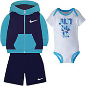 Nike Newborn Boys' Color Blocked Hoodie, Bodysuit, and Shorts Three-Piece Set
