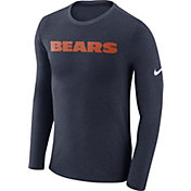 Nike Men's Chicago Bears Marled Wordmark Navy Long Sleeve Shirt
