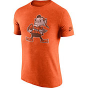 Nike Men's Cleveland Browns Tri-Blend Historic Logo Orange T-Shirt