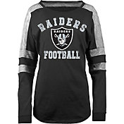 5th & Ocean Women's Oakland Raiders Boyfriend Black Long Sleeve Shirt