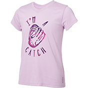 Reebok Girls' V-Neck I'm A Catch Graphic Softball T-Shirt