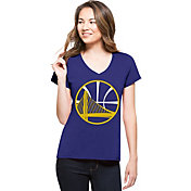 '47 Women's Golden State Warriors Splitter Logo Royal V-Neck T-Shirt