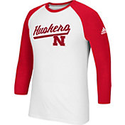 adidas Men's Nebraska Cornhuskers Go-To Three-Quarter Performance White T-Shirt