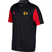 adidas Men's Chicago Blackhawks Authentic Pro Game Day Black Performance Polo