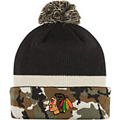 adidas Men's Chicago Blackhawks Logo Camo Pom Knit Beanie