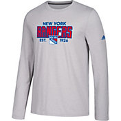 adidas Men's New York Rangers Go-To Established Grey Performance Long Sleeve Shirt
