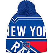 adidas Men's New York Rangers Logo Royal Pom Knit Beanie