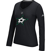 adidas Women's Dallas Stars Primary Position Black Performance V-Neck Long Sleeve Shirt