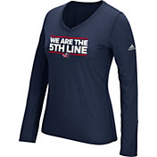 adidas Women's Columbus Blue Jackets Local Dassler Navy Performance V-Neck Long Sleeve Shirt