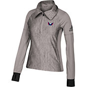 adidas Women's Washington Capitals Logo Grey Performance Quarter-Zip Pullover