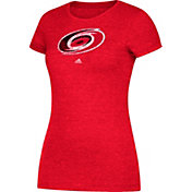 adidas Women's Carolina Hurricanes Logo Heathered Red T-Shirt