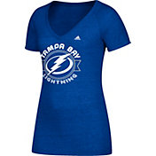 adidas Women's Tampa Bay Lightning Banner Dazzle Royal Heathered T-Shirt