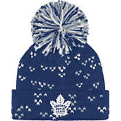 adidas Women's Toronto Maple Leafs Royal Cuff Pom Knit Beanie