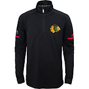 adidas Youth Chicago Blackhawks Authentic Pro Black Quarter-Zip Jacket