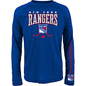 NHL Youth New York Rangers Tornado Royal Performance Long Sleeve Shirt