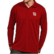 Antigua Men's Houston Cougars Red Exceed Long Sleeve Polo