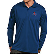 Antigua Men's Tulsa Golden Hurricane Blue Exceed Long Sleeve Polo