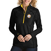 Antigua Women's Pittsburgh Steelers Quick Snap Logo Tempo Black Quarter-Zip Pullover