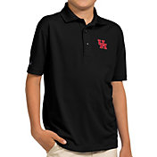Antigua Youth Houston Cougars Black Pique Polo