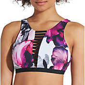CALIA by Carrie Underwood Women's Cage Front High Neck Printed Bikini Top