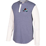 CCM Men's Colorado Avalanche Henley Grey Long Sleeve Shirt
