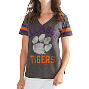 G-III For Her Women's Clemson Tigers Grey In the Finals V-Neck T-Shirt