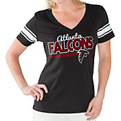 Touch by Alyssa Milano Women's Atlanta Falcons Foil V-Neck Black T-Shirt