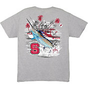 Guy Harvey Men's NC State Wolfpack Grey Collegiate Boat T-Shirt